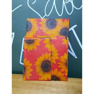 Tecido Sustentável Pano de Cera de Abelha Kit Com 3 Tamanhos Girassol Vermelho (P, M e G) BIOPANOS
