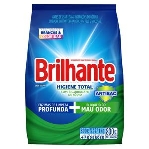 Lava-Roupas em Pó Roupas Brancas e Coloridas Brilhante Higiene Total Pacote 800g