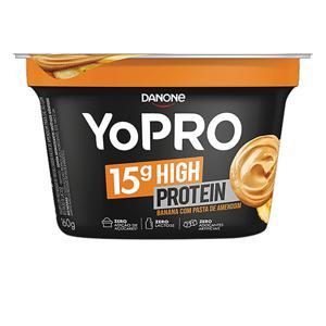 Iogurte Desnatado Banana com Pasta de Amendoim Zero Lactose YoPRO 15g High Protein Pote 160g