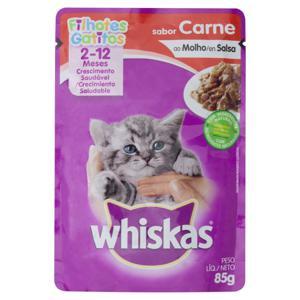 Alimento para Gatos Filhotes Carne ao Molho Whiskas Sachê 85g