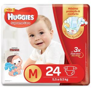 Fralda Descartável Infantil Huggies Supreme Care tam M Pacote c/24 Unidades
