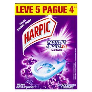 Detergente Sanitário Pastilha Adesiva Lavanda Harpic Leve 5 Pague 4 Unidades