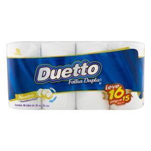 Papel Higiênico Folha Dupla Neutro Duetto 30m Pacote Leve 16 Pague 15 Unidades