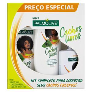 Kit Shampoo 350ml + Condicionador 350ml + Creme para Pentear 150ml com Extrato de Babosa Palmolive Cachos Livres