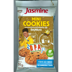 Biscoito Jasmine 35g Mini Cookies Baunilha com Gotas de Chocolate