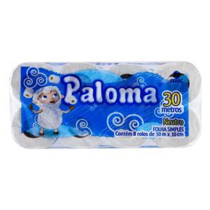 Papel Higiênico Folha Simples Neutro Paloma 30m Pacote 8 Unidades