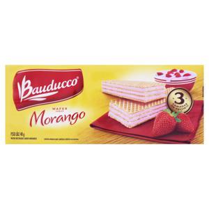 Biscoito Wafer Recheio Morango Bauducco Pacote 140g