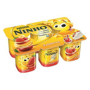 Iogurte Parcialmente Desnatado Morango + Salada de Frutas + Maçã e Banana Nestlé Ninho Bandeja 540g 6 Unidades