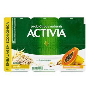 Leite Fermentado Integral Aveia, Mamão e Cereais Activia Bandeja 600g 6 Unidades Embalagem Econômica