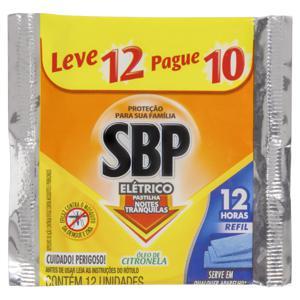 Repelente Elétrico Pastilha Óleo de Citronela SBP Noites Tranquilas Pacote Leve 10 Pague 12 Unidades Refil