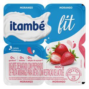 Iogurte Desnatado Morango Zero Lactose Itambé Fit Bandeja 400g 4 Unidades