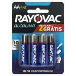 Pilha Alcalina AA Rayovac 6 Unidades 1,5V Grátis 2 Pilhas