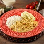 Strogonoff de Frango com arroz branco e purê de batatas 350g