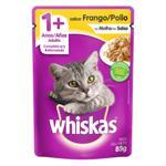 Alimento para Gatos Adultos 1+ Frango ao Molho Whiskas Sachê 85g